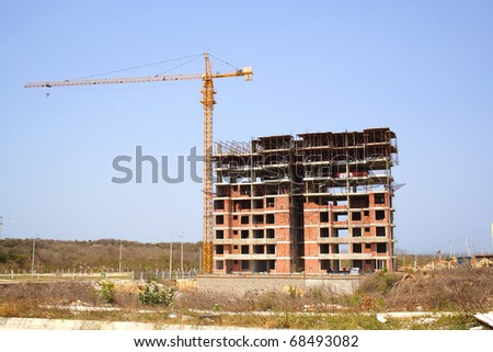 A random building under construction in Colombia - stock photo
