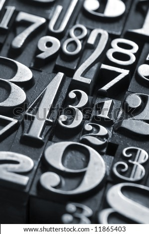 A random group of numbers photographed using vintage type. Part of a series of letterpress backgrounds - stock photo