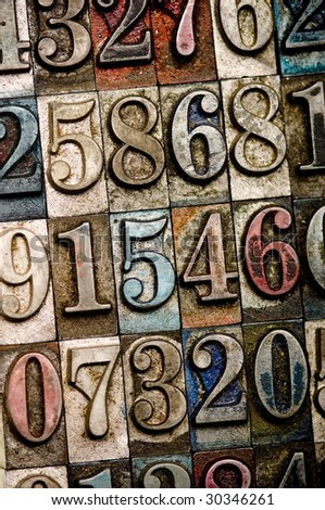 A random selection of vintage and colorful letterpress numbers as a background - stock photo