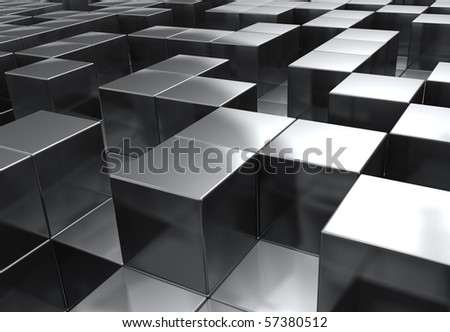 a random stacking of chrome cubes in a maze like fashion - stock photo