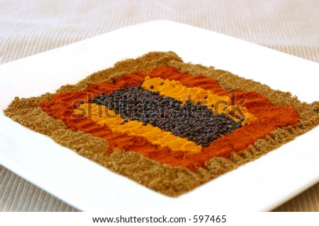A range of essential Indian spices laid out in a colorful pattern. Shallow DOF. - stock photo