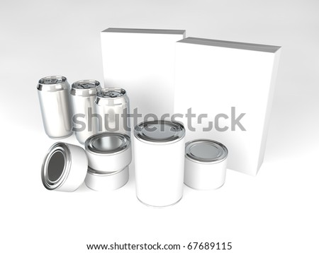 A range of products with blank labels - cans, tins, cereal boxes - stock photo