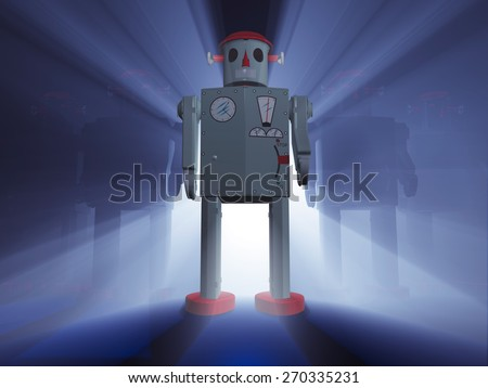 A rank of 1950s style tin toy robots with one leading in front, dramatically back lit on a deep blue background with light rays shinning between the robots.  - stock photo