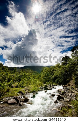 A rapid flowing stream in tropical mountains - stock photo