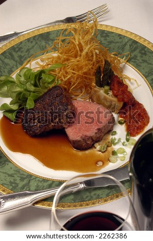 a rare fillet mignon is served at dinner