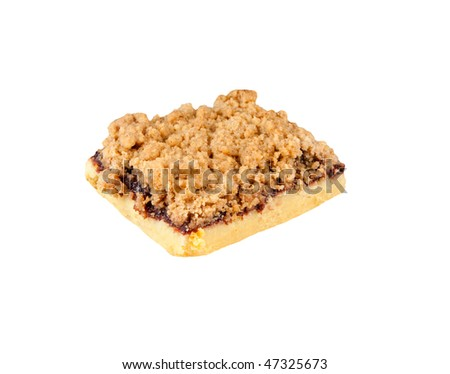 A raspberry dessert bar isolated on a white background. - stock photo