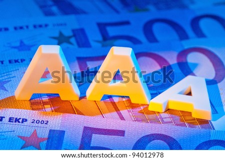 "a rating agency has awarded the ""3a"" letters. triple-a rating from a rating agency. - stock photo"