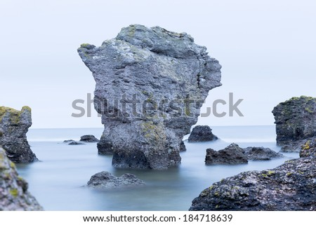 a rauk in Gotland early in the morning - stock photo