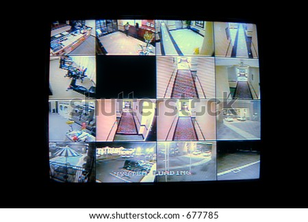 A real cctv security system monitor with multiple camera views of a hotel. - stock photo
