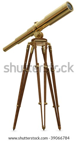A real photo graph of a vintage brass telescope on a white background - stock photo