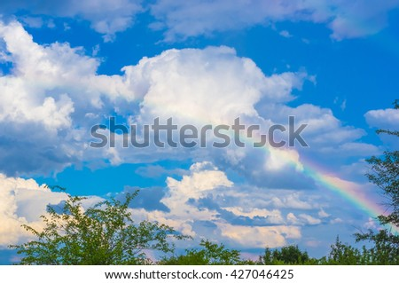 a real rainbow over the Apple orchard - stock photo