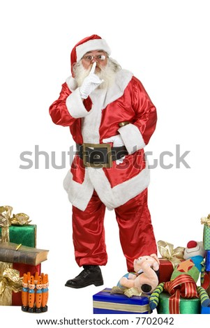 A real Santa Claus shushing - stock photo