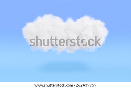 a realistic and fluffy cloud on blue background (3d render)