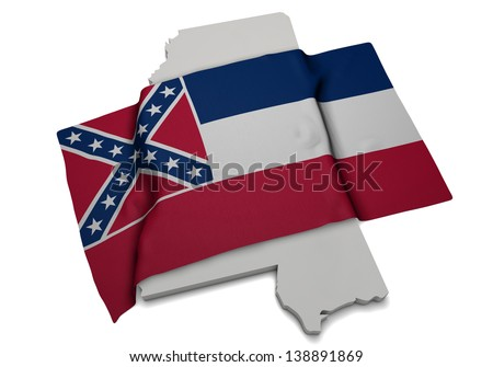 A realistic flag covering the shape of Mississippi - stock photo