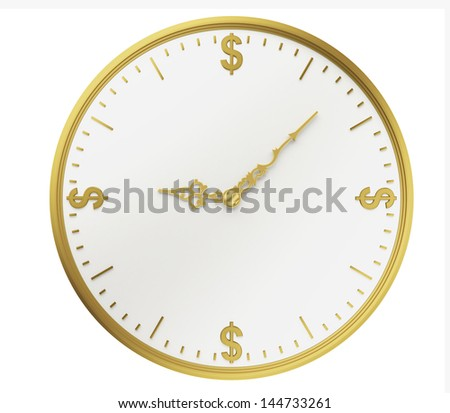 A realistic golden rendering of a clock with dollars as digits isolated on white. Time is money (series) - stock photo