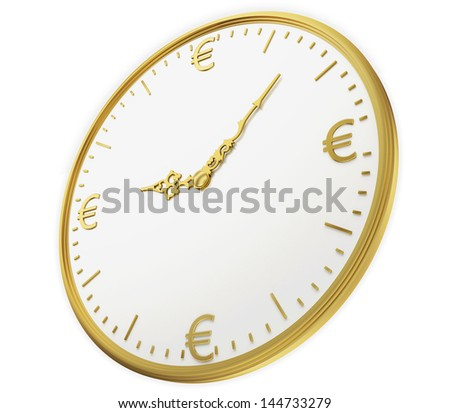 A realistic golden rendering of a clock with euros as digits isolated on white. Time is money (series) - stock photo