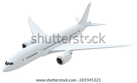 A realistic rendering of a white airplane isolated on white background.  The airplane has slight reflections of clouds giving it a realistic effect. - stock photo