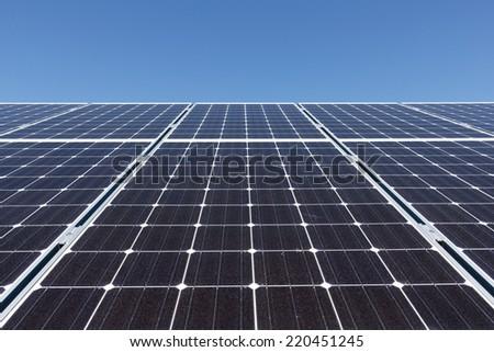 A really big set of solar panels - stock photo