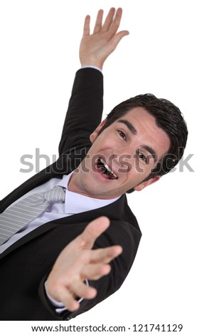 A really happy businessman. - stock photo