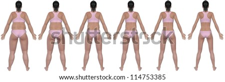 A rear view illustration of a obese woman's weight loss progress in a series of six renders. Isolated on a solid white background. - stock photo