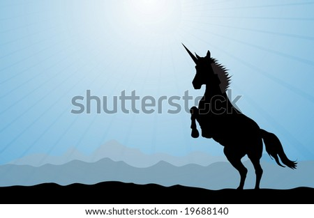 A rearing unicorn on a blue modern background. - stock photo