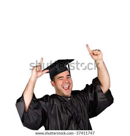 A recent graduate posing in his cap and gown isolated over a white background. - stock photo