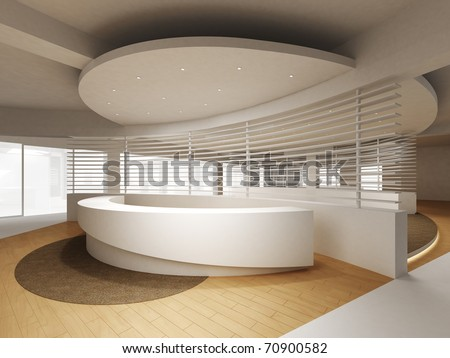 A reception area in an office block. - stock photo
