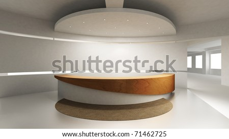 A reception area in an office block. Behind the reception counter is a blank wall for placing company logo. - stock photo