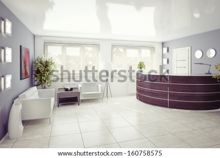 A reception area -modern interior - stock photo