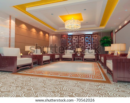 a reception room.3d render - stock photo