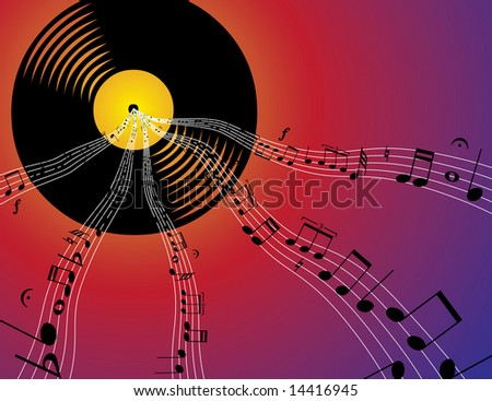 a record emitting musical notes - stock photo