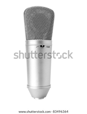 A recording studio microphone isolated white background with clipping path - stock photo