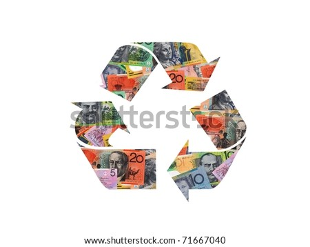 A recycle symbol from cash isolated against a white background - stock photo