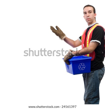 A recycle worker showing off your text, isolated against a white background - stock photo
