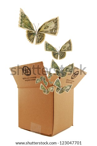 A recycling box and butterflies concept