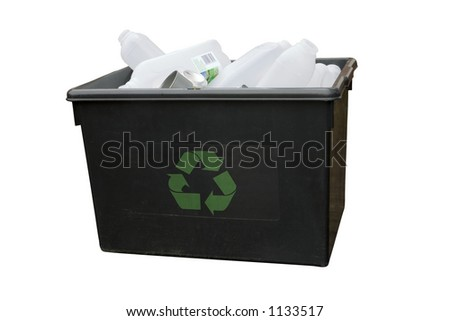 A recycling box containing bottles and cans. Isolated with path. - stock photo