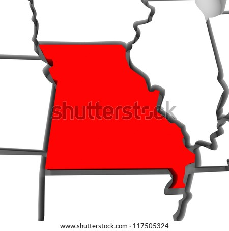 A red abstract state map of Missouri, a 3D render symbolizing targeting the state to find its outlines and borders