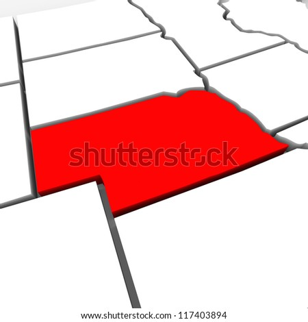 A red abstract state map of Nebraska, a 3D render symbolizing targeting the state to find its outlines and borders