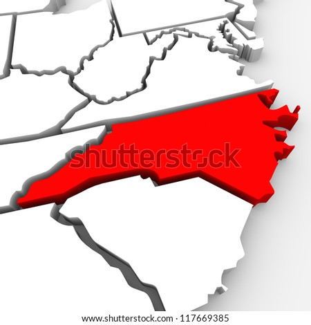 A red abstract state map of North Carolina, a 3D render symbolizing targeting the state to find its outlines and borders - stock photo