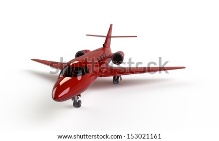 A red airplane prepare for take off on the ground isolated on white