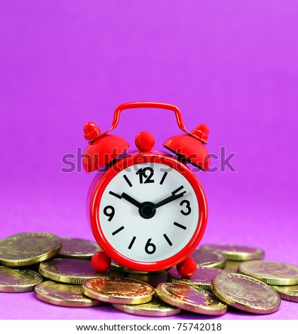 A red alarm clock on top of a pile of Golden coins against a light pastel purple background, signifying time and investments go together.