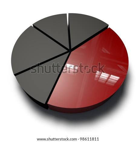 a red and black diagram with five sections - stock photo
