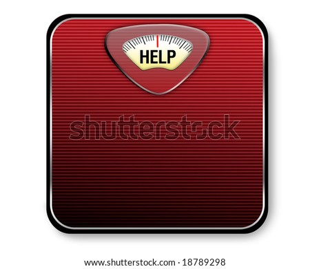 "A red and black scale with the word ""help"" for the weight display. - stock photo"