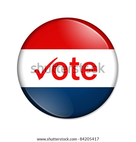 A red and blue button with word vote isolated on a white background, Vote button - stock photo