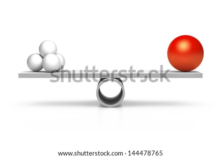 A red and four white balls at a balance - stock photo