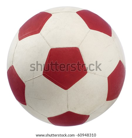 a red and white soccer ball isolated on white - stock photo