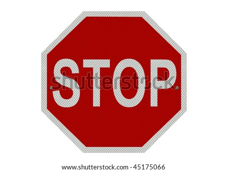 A red and white STOP sign, isolated on a pure white background - stock photo