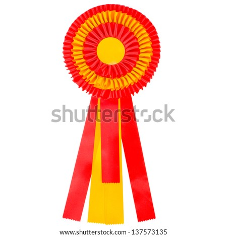 A red and yellow color of the Spanish flag  ribbon is a symbol for success and first prize  isolated on white background - stock photo