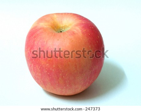 A red apple on a white & clear background. - stock photo