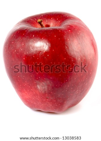 A red apple on white background. - stock photo